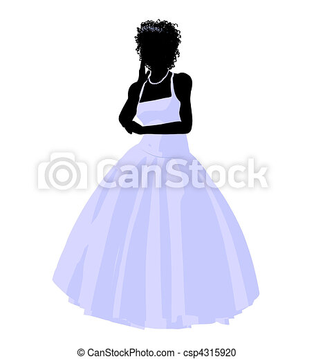 African American Wedding Bride Silhouette - csp4315920