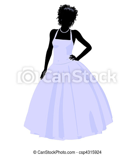 African American Wedding Bride Silhouette - csp4315924