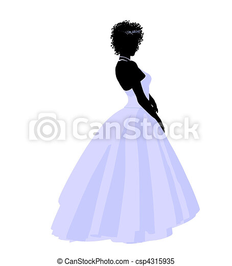 African American Wedding Bride Silhouette - csp4315935