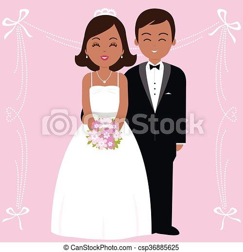 African American Wedding.African American Wedding Couple Vector Illustration