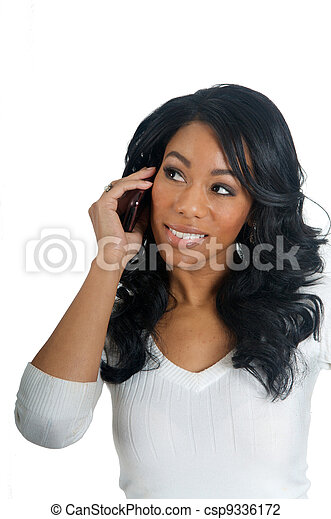 African American Woman chatting on the phone - csp9336172