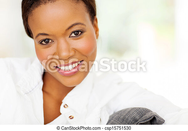 african american woman close up portrait - csp15751530
