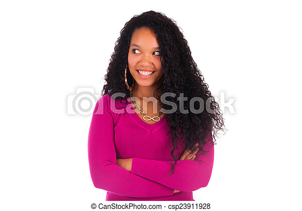 African American Woman Close up portrait - csp23911928