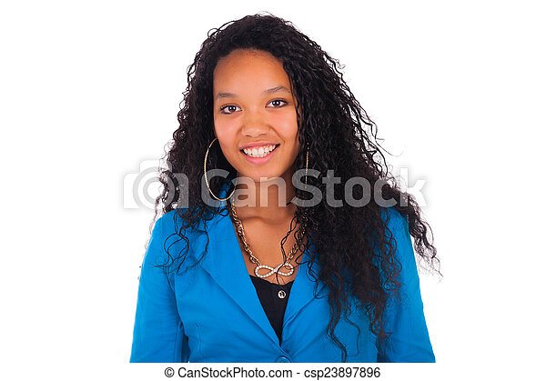 African American Woman Close up portrait - csp23897896