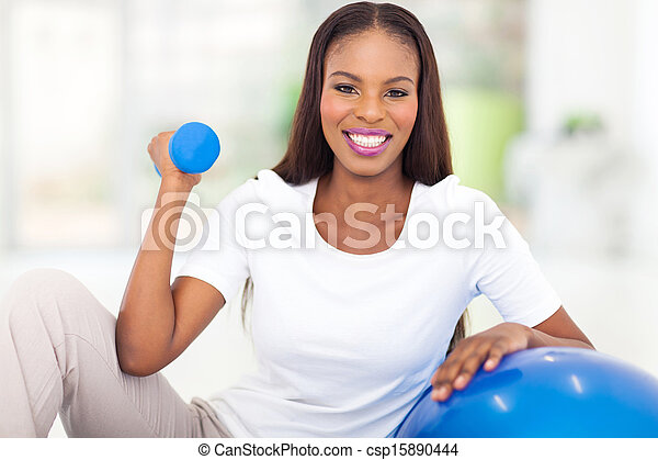 african american woman doing fitness exercise - csp15890444