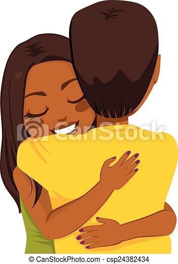 African American Woman Hugging - csp24382434