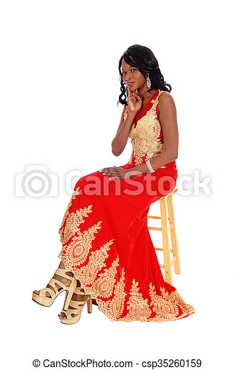 African American woman in dress. - csp35260159