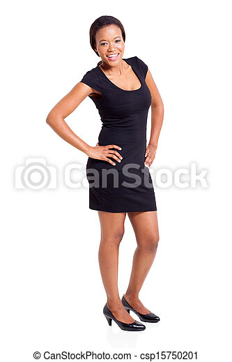 african american woman in elegant dress - csp15750201