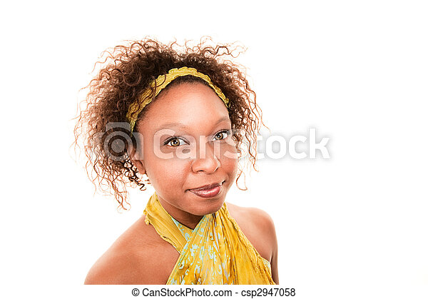 African American Woman in Green Wrap Dress - csp2947058