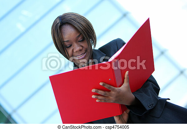 African american woman in office - csp4754005
