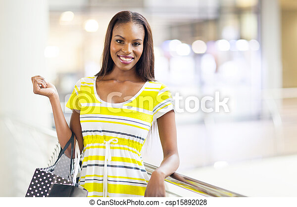 african american woman in shopping mall - csp15892028