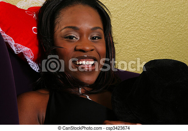African American Woman Laying Back Close Up - csp3423674