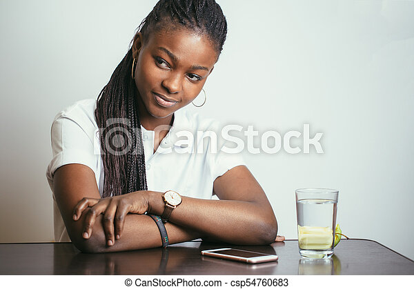 African American woman looking at camera - csp54760683
