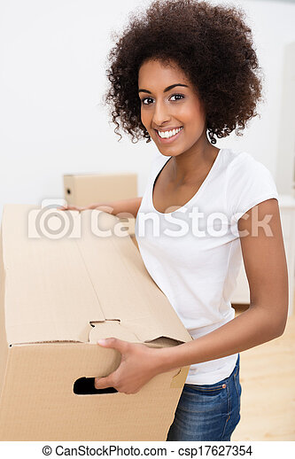 African American woman moving house - csp17627354