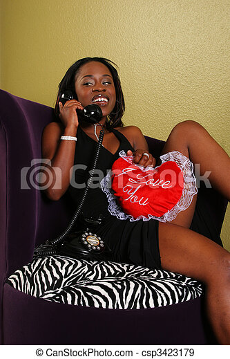 African American Woman On The Phone 2 - csp3423179