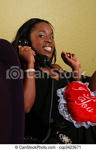 African American Woman On The Phone Close Up 2 - csp3423671