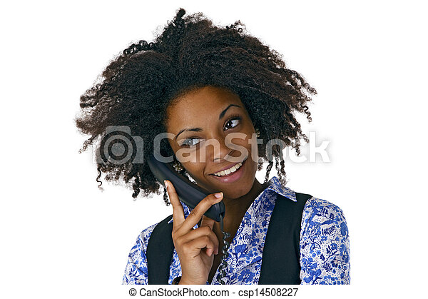African american woman on the phone - csp14508227