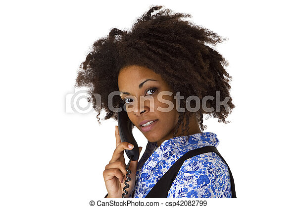 African american woman on the phone - csp42082799