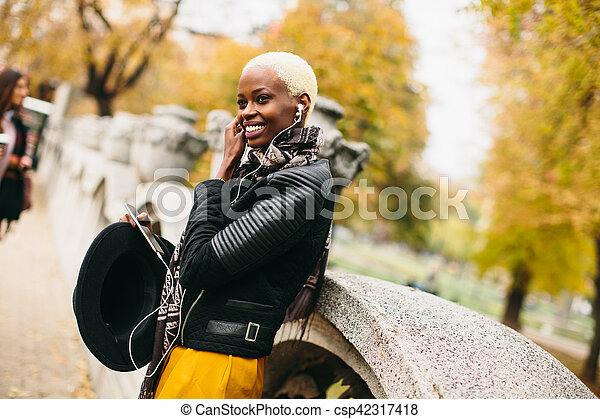 African american woman outdoor - csp42317418