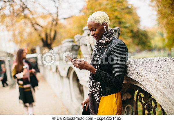 African american woman outdoor - csp42221462