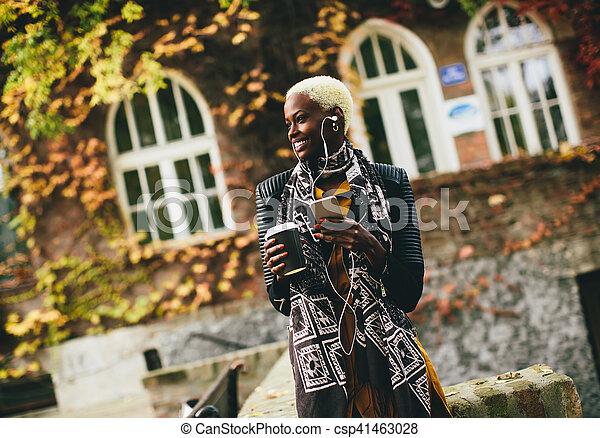 African american woman outdoor - csp41463028