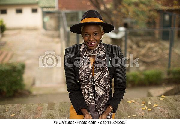 African american woman outdoor - csp41524295