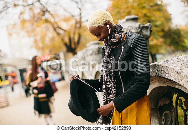 African american woman outdoor - csp42152890