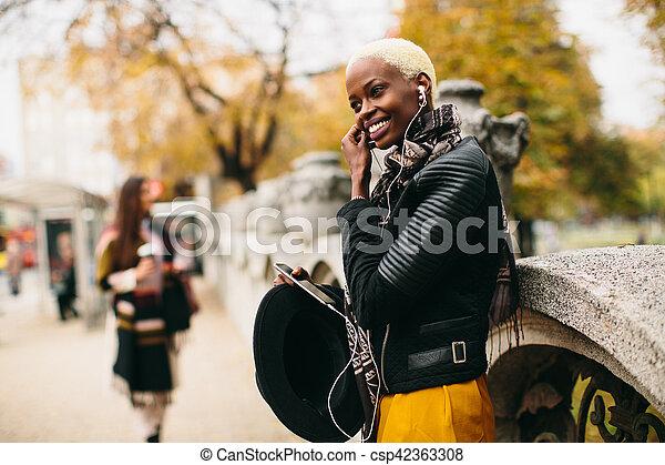 African american woman outdoor - csp42363308