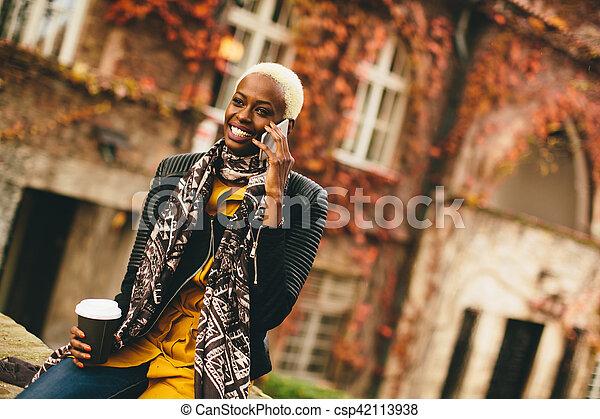 African american woman outdoor - csp42113938
