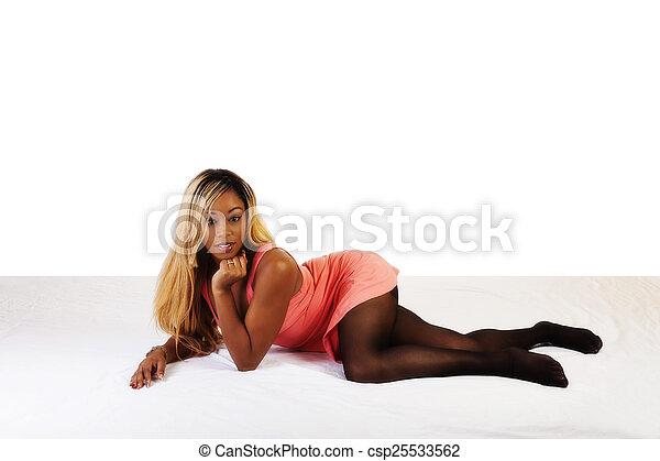 African American Woman Reclining On Floor Dress - csp25533562