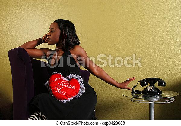 African American Woman Refusing The Phone 2 - csp3423688