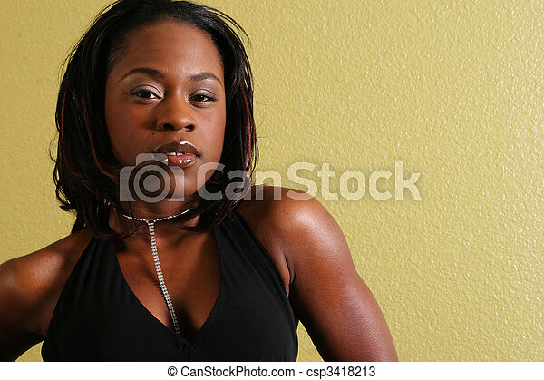African American Woman Sexy Look - csp3418213