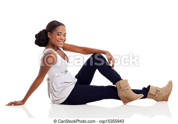 african American woman sitting on floor - csp15355943