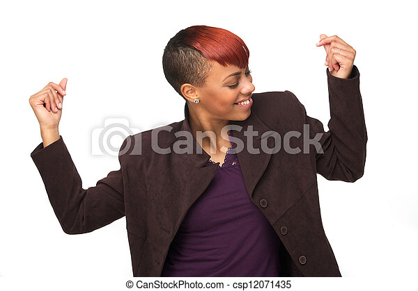 African American Woman Snapping her Fingers to Music - csp12071435