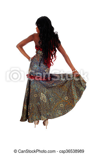 African American woman standing from back. - csp36538989