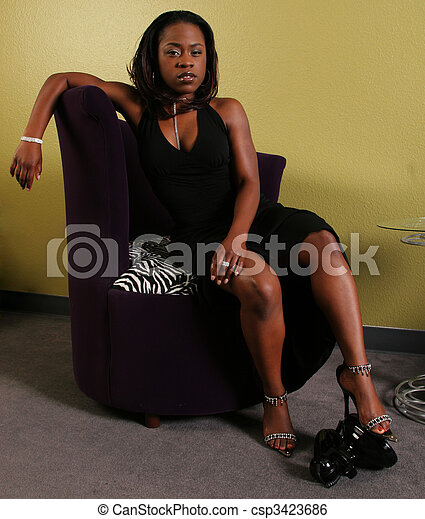 African American Woman Step On The Phone 2 - csp3423686