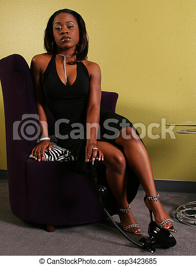 African American Woman Step On The Phone - csp3423685