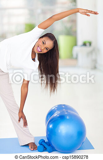 african american woman stretching - csp15890278