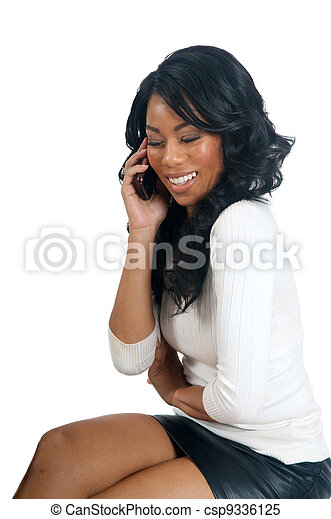 African American Woman talking on the phone - csp9336125