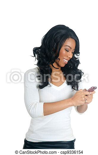 African American Woman texting on the phone - csp9336154