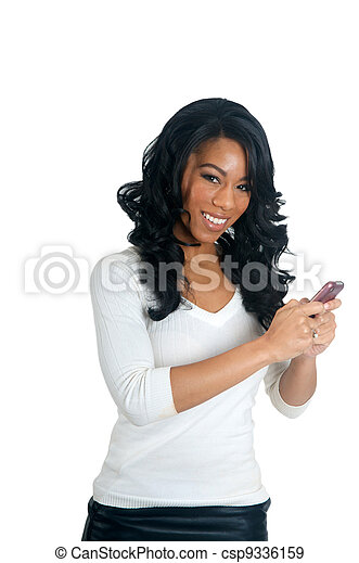 African American Woman texting on the phone - csp9336159