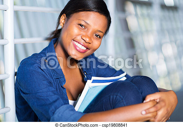 african american woman with books - csp19808841