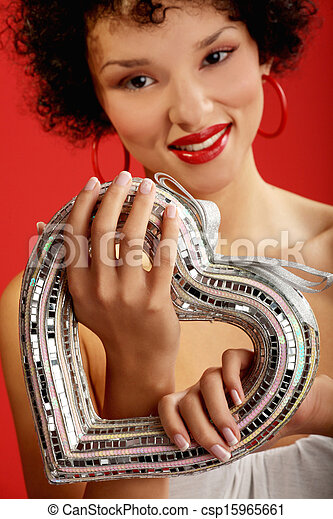 African american woman with heart - csp15965661