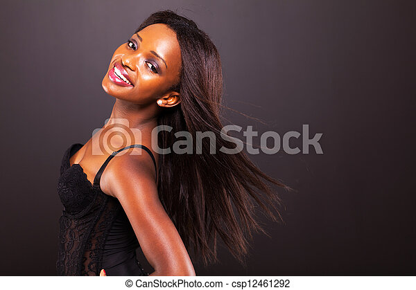 african american woman with long hair - csp12461292
