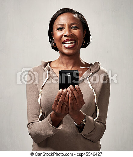 African american woman with smartphone - csp45546427