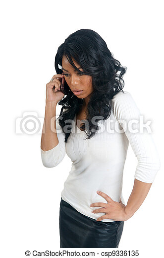 African American Woman worry on the phone - csp9336135