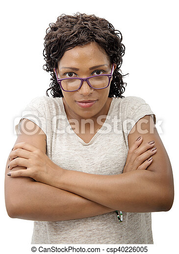 African American young woman smiling, on white background - csp40226005