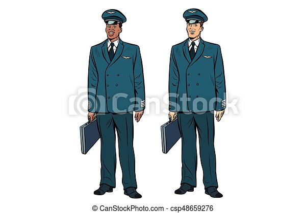 African and Caucasian the pilots of civil aviation - csp48659276