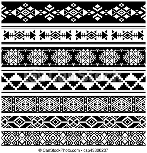 African and mexican aztec american tribal vector borders frame Adorable African Tribal Patterns