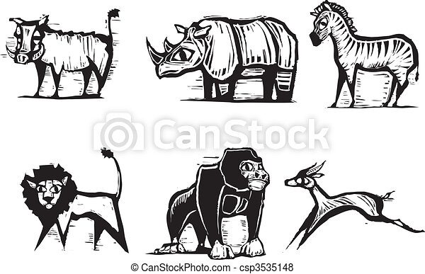 African Animal Group #2 - csp3535148